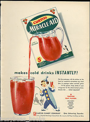 1955 MIRACLE AID advertisement, Curtiss Candy Company, drink mix