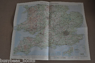 "WALES & ENGLAND SOUTH  Map, 1955, 19"" x 24"""