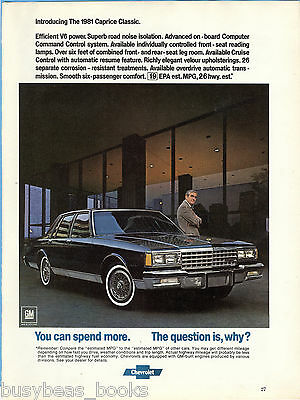 1981 CAPRICE CLASSIC advertisement, Chevrolet Caprice sedan