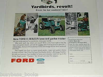 1966 Ford Lawn Tractor advertisement, Ford 100 riding mower