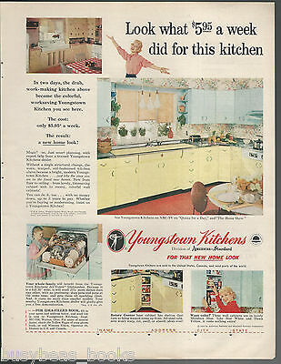 1956 YOUNGSTOWN KITCHENS advertisement, modern metal cabinets, large size advert