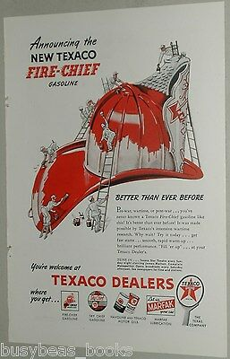 1946 TEXACO advertisement, Texaco Fire-Chief gasoline, Fireman's helmet