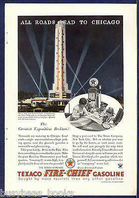 1934 TEXACO advertisement, Chicago Fair, Havoline thermometer Tower