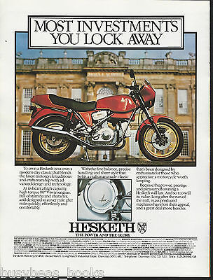 1982 HESKETH V1000 MOTORCYCLE advertisement, Hesketh bike, British advert