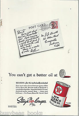1938 TEXACO advertisement, Motor Oil Tin & post card, Texas Company, Fur-fur-al