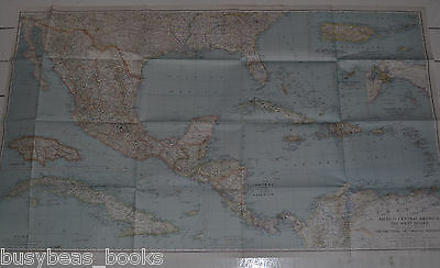 1934 National Geographic Map, MEXICO, Central America, West Indies, DEC. 1934