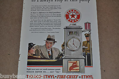 1933 Texaco advertisement, TEXACO Fire-Chief gasoline, Gas pump, Texaco globe