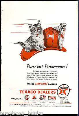 1946 TEXACO advertisement, Fire-Chief gasoline, Fireman's helmet with kitten