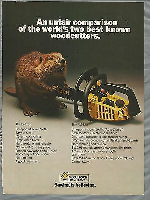 1980 McCulloch CHAIN SAW advertisement, McCulloch ad PM 320 chainsaw with Beaver