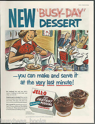 1954 JELL-O INSTANT PUDDING advertisement, Mom in kitchen, cartoon large size ad