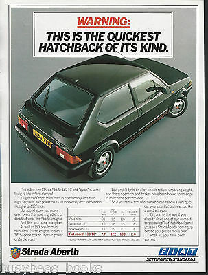 1984 FIAT STRADA ABARTH advertisement, British advert, Fiat Abarth 130 TC