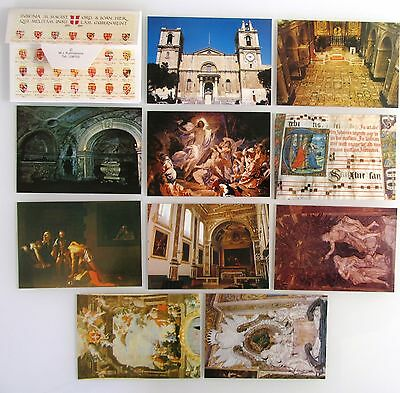 Leporello 10 color Postkarten Lot VALETTA Malta Kirche Church Kirchen Motive
