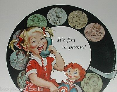 1958 Bell Telephone ad, young girl cartoon, Pete Hawley
