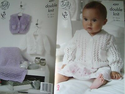 King Cole 4397 Baby's Cardigans & Blanket DK Knitting Pattern Sizes 12-22""