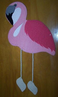UNIQUE! QUILTED Pink Flamingo Table Place Mat Runner w/ Dangly Legs