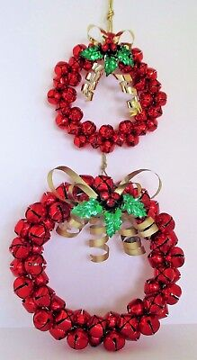 Red Jingle Bell & Holly Wreaths 8 and 11 inches 2 pieces