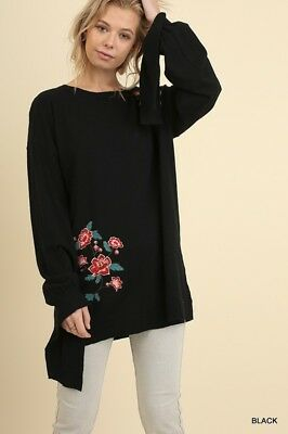 739d360d0cf UMGEE Womens Black Tunic Knit Sweater Embroidered Long Sleeve Oversized Boho