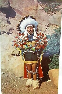 1953 Postcard North American Indian Chief In Full Dress Costume