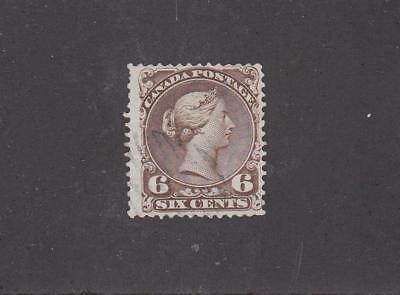 CANADA # 27 VF-VERY LIGHTLY USED 6cts DARK BROWN LARGE QUEEN CAT VALUE $200