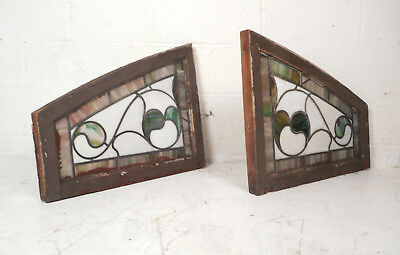 Pair of Vintage Antique Stained Glass Windows (8605)NJ