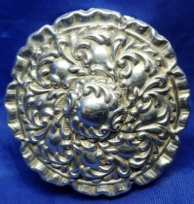 Round Solid Silver Repousse Hinged Lid Pill Box By Adie & Lovekin  ~ B'ham 1909