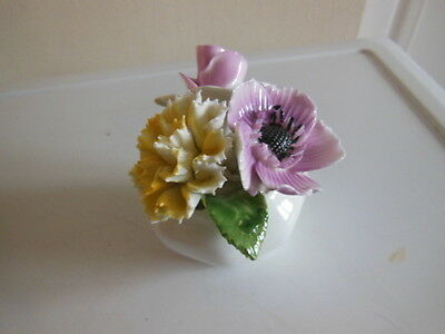 Vintage Radnor Bone China Small White Posy Bowl With Pink/yellow Flowers