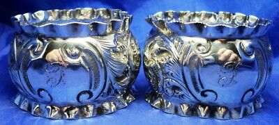 PAIR OF SOLID SILVER REPOUSSE NAPKIN RINGS BY W H SPARROW ~ B'HAM 1903 ~ 24.4 g