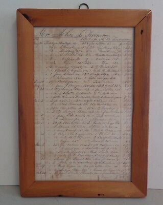 A.W. Turner General Store Bill of Sale 1844 to 1845, Ontario New York, Framed