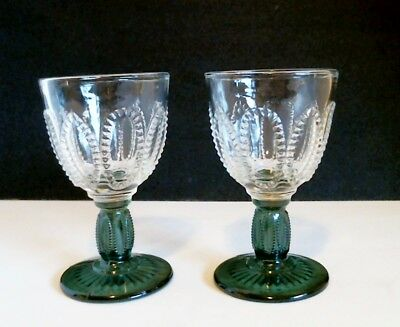 Avon Emerald Accent Stem Sherry Cordial LOT OF 2 Beaded Oval Green Stem c 1980