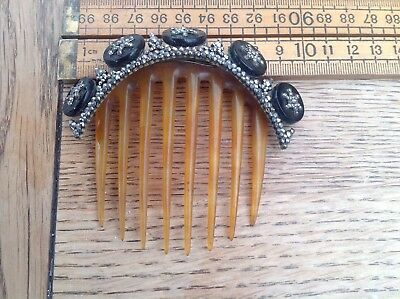 A Beautiful And Unusual Antique Hair Comb, Antique Glass, Cut Steel Hair Comb