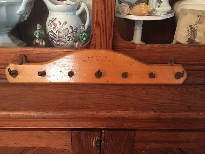 Vintage French France  Wooden Jewelry Key Towel Rack 7 Hooks