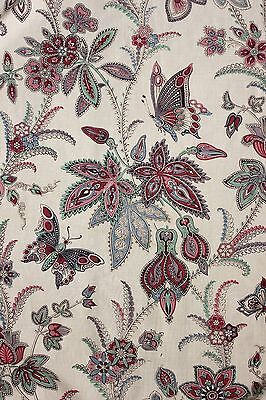 French antique Indienne floral butterfly printed cotton c1860 old curtain drape
