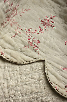 Antique French 18th century valance ruffle c1780 printed faded pink floral linen