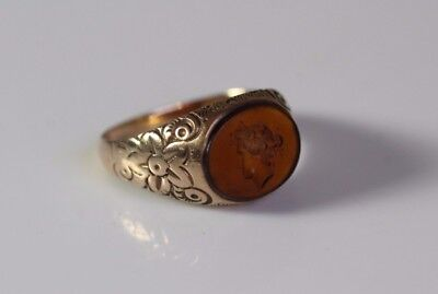 Antique Victorian 10k Yellow Gold Engraved Floral Band Intaglio Ring Size 7.75