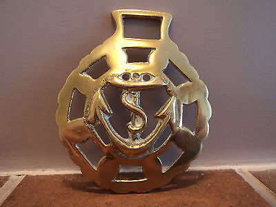 Maritime/marine Vintage Brass Cast Boat/ship's Anchor Design Wall/door Plaque.