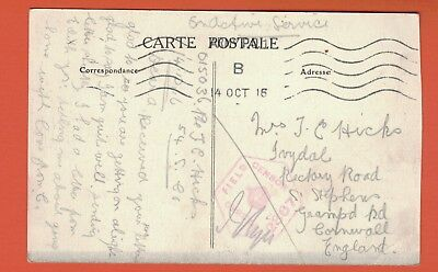 1916 WW1 Censor Postcard to St. Stephens, Cornwall