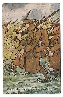 Postcard Soldiers Marching in the Rain C.WW1