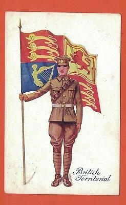 WW1 Postcard,  Soldier,  A British Territorial with Standard