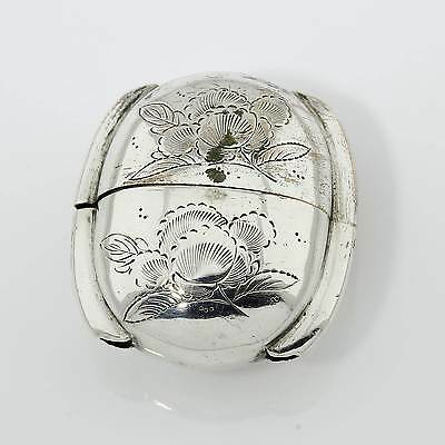 Rare Antique Japanese Silver Plated Inro Pill Box Butterflies flowers 17MYWNE