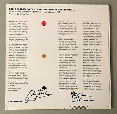 Jimmy Page & Chris Harlowe Signed Record Album Insert THE BEGINNING PSA/DNA LOA