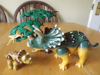 Playmobil Dinosaur Figure Set Triceratops And Baby With Scenery Part