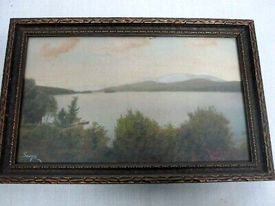 SIGNED CHARLES SAWYER LAKE w CHRIS CRAFT BOAT HAND TINTED FRAMED PHOTOGRAPH