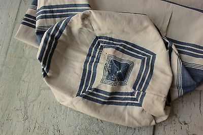 Ticking French French 18th century 1700's indigo blue old pillow cover Bolster