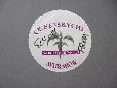 Queensryche satin cloth backstage pass World Tour '90-'91 purple circle