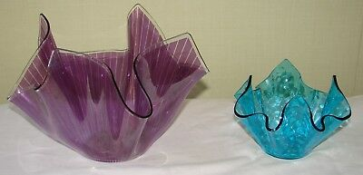 2 Chance Glass Handkerchief  Vases Cordon And Aqualux