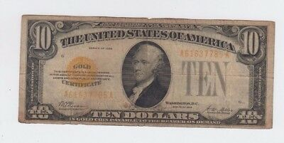 Gold Certificate $10 1928 one old note  lower grade