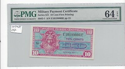 MPC Series 521  10 Cents 1st printing  PMG 64EPQ  CHOICE UNC