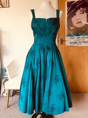 Vintage 1950s Turquoise Blue Black Floral Satin Prom Swing Dress Size 6 Pin Up