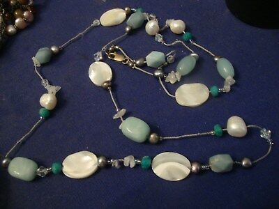 Grandmas Estate Beautiful  Sterling Silver  Chunky Real Pearls Necklace