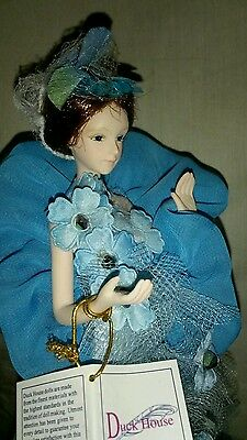 Victorian Doll Tassel Stick Doll Blue Floral Victorian Gown Limited Edition 15""